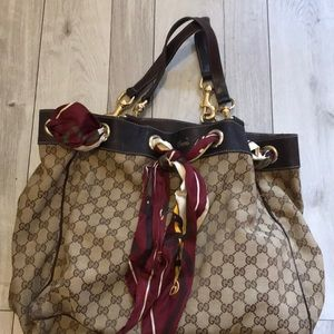 Gucci brown-beige monogram purse with scarf detail